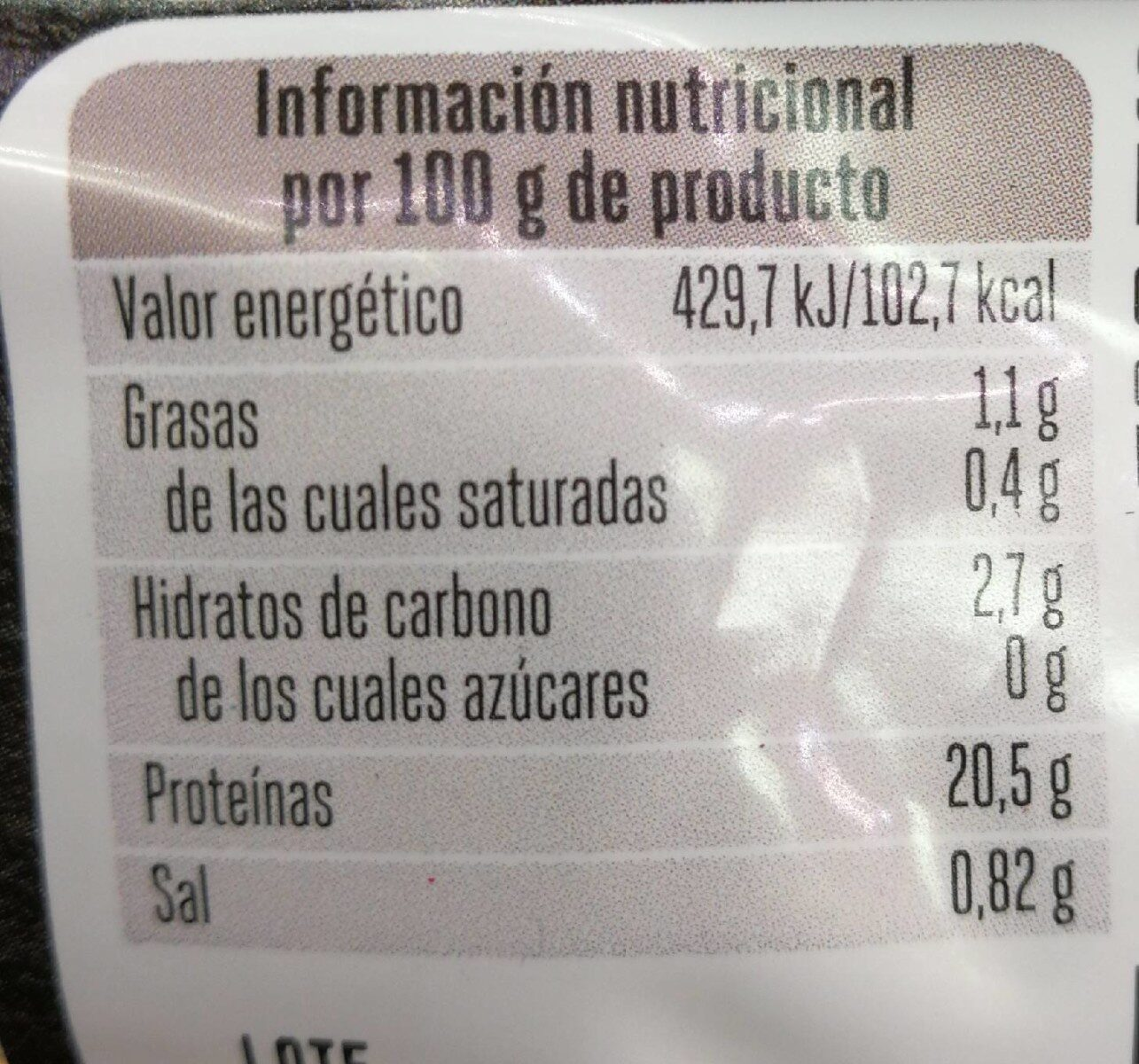 Filetes de pavo - Información nutricional - es
