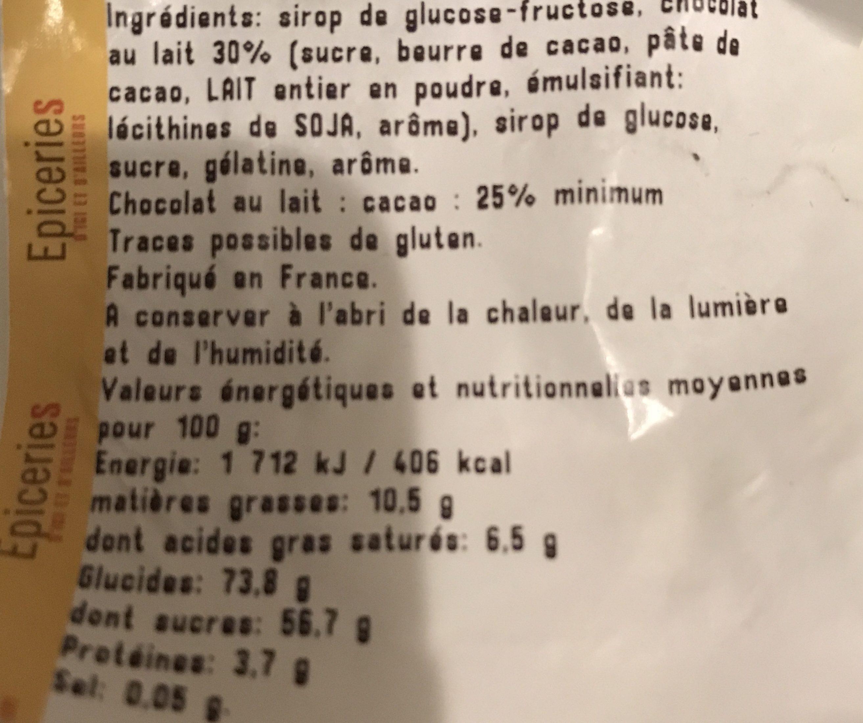 Guimauve fantaisie enrobée de chocolat au lait - Ingrediënten - fr