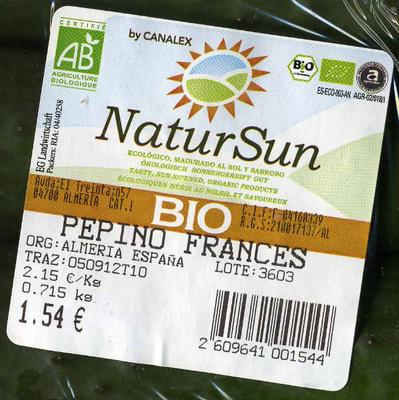 Pepinos ecológicos - Ingrédients