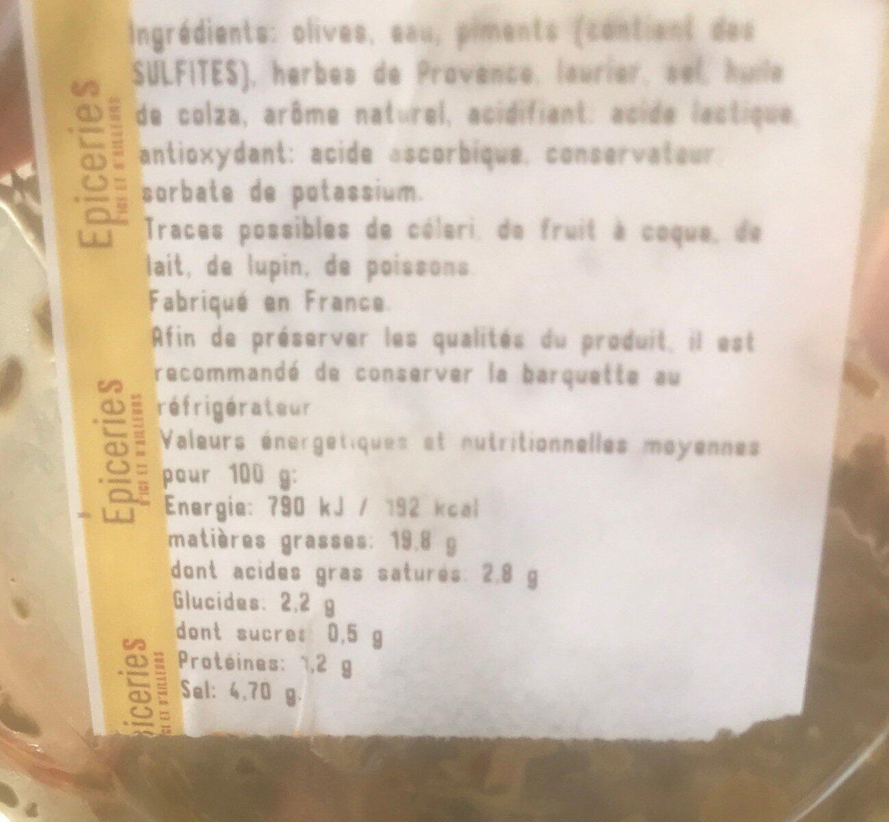Olives provençales - Informations nutritionnelles - fr