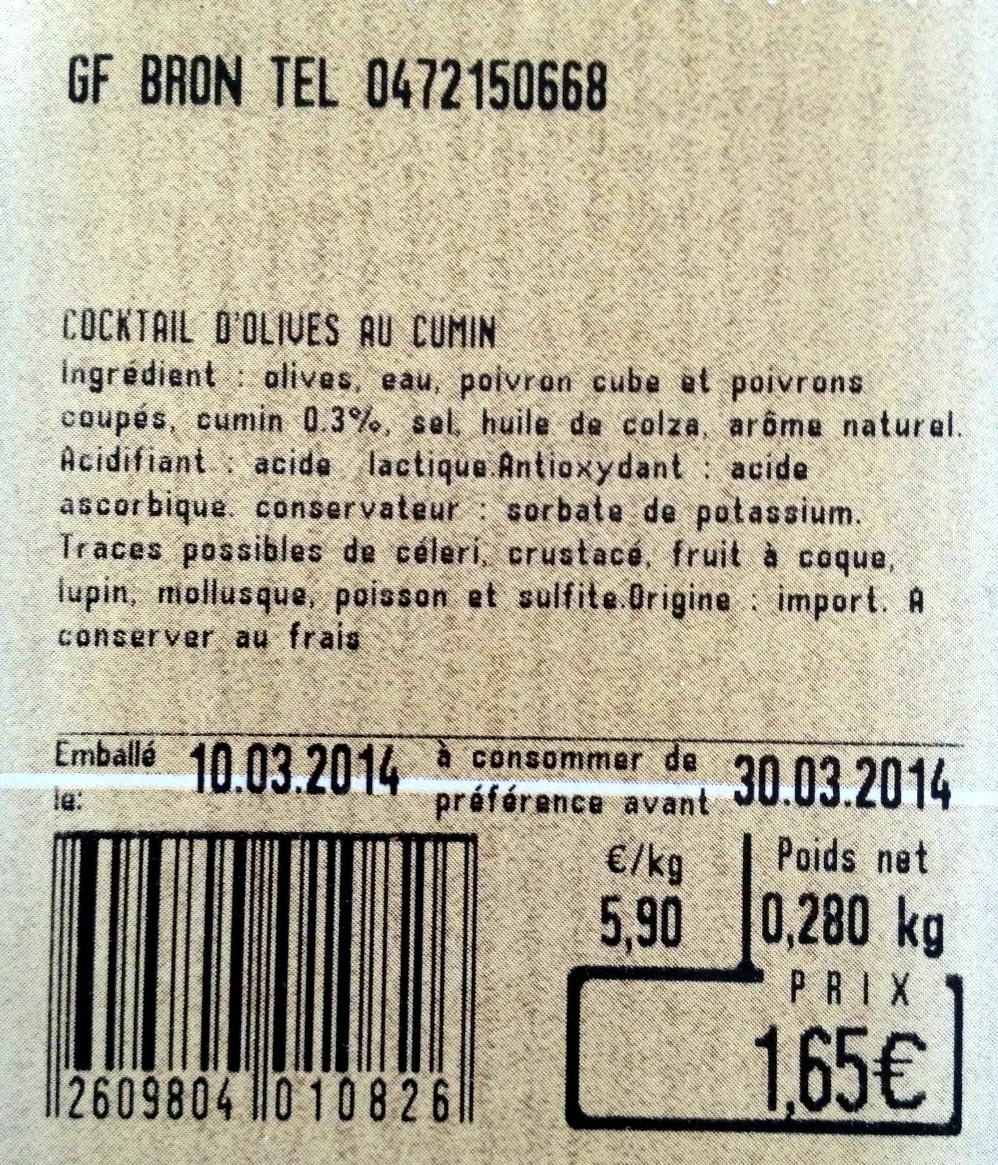 Cocktail d'olives au cumin - Product - fr