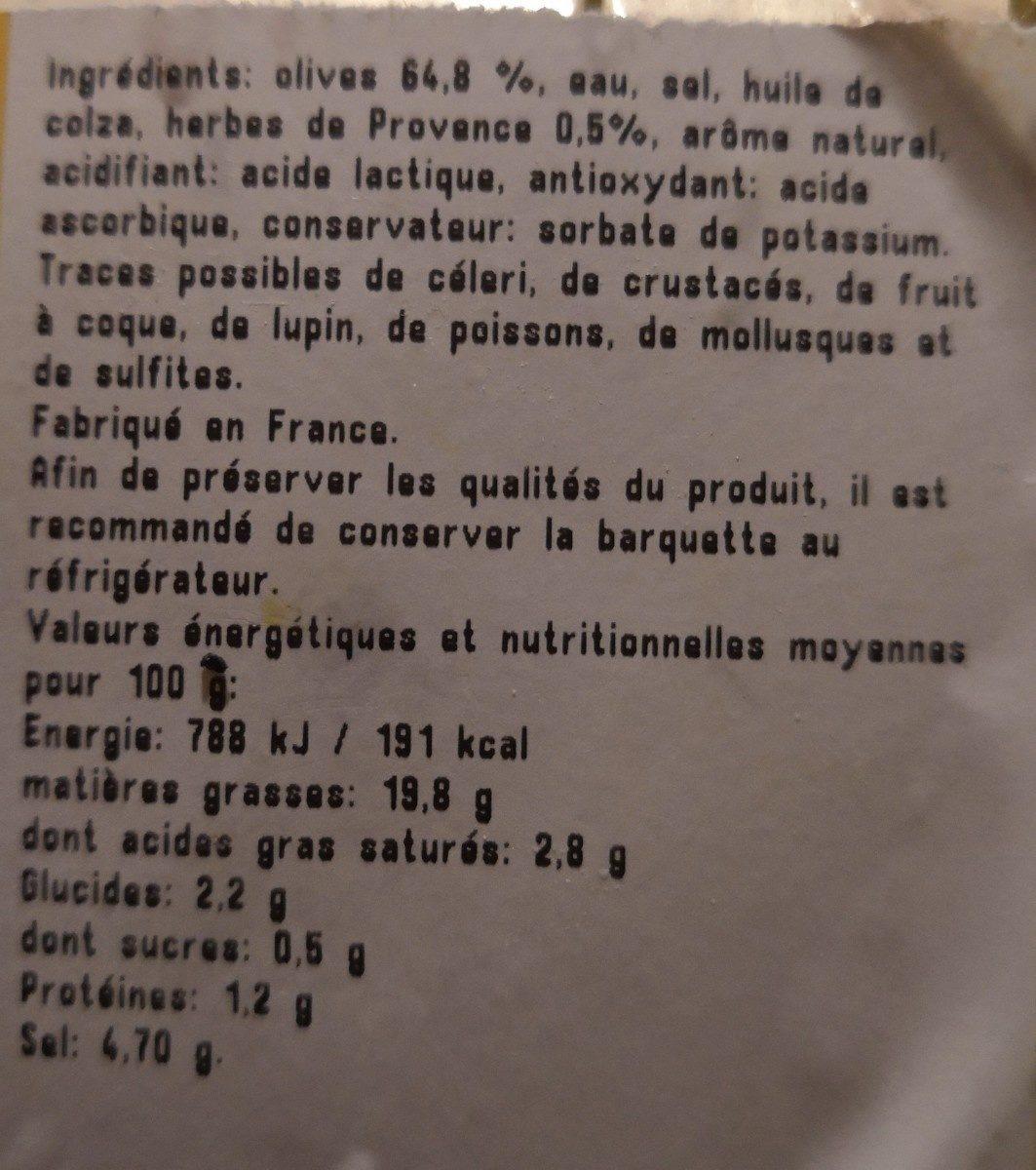 Olives cassées aux herbes de Provence - Ingredients - fr