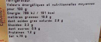 Olives cassées aux herbes de Provence - Nutrition facts - fr