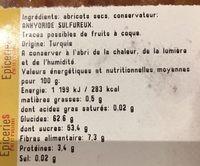 Abricot sec - Ingrédients - fr