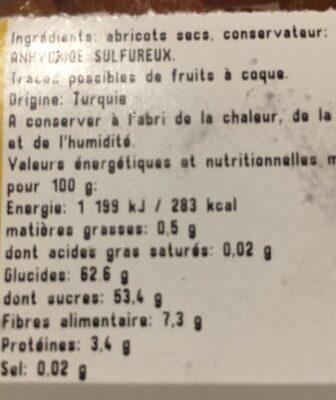 Abricot sec - Informations nutritionnelles - fr