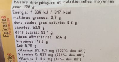 Baies de goji sechees - Ingrédients