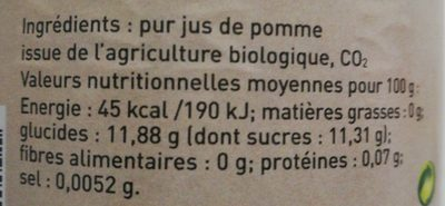 Pétillant de pomme des Cévennes - Ingredients