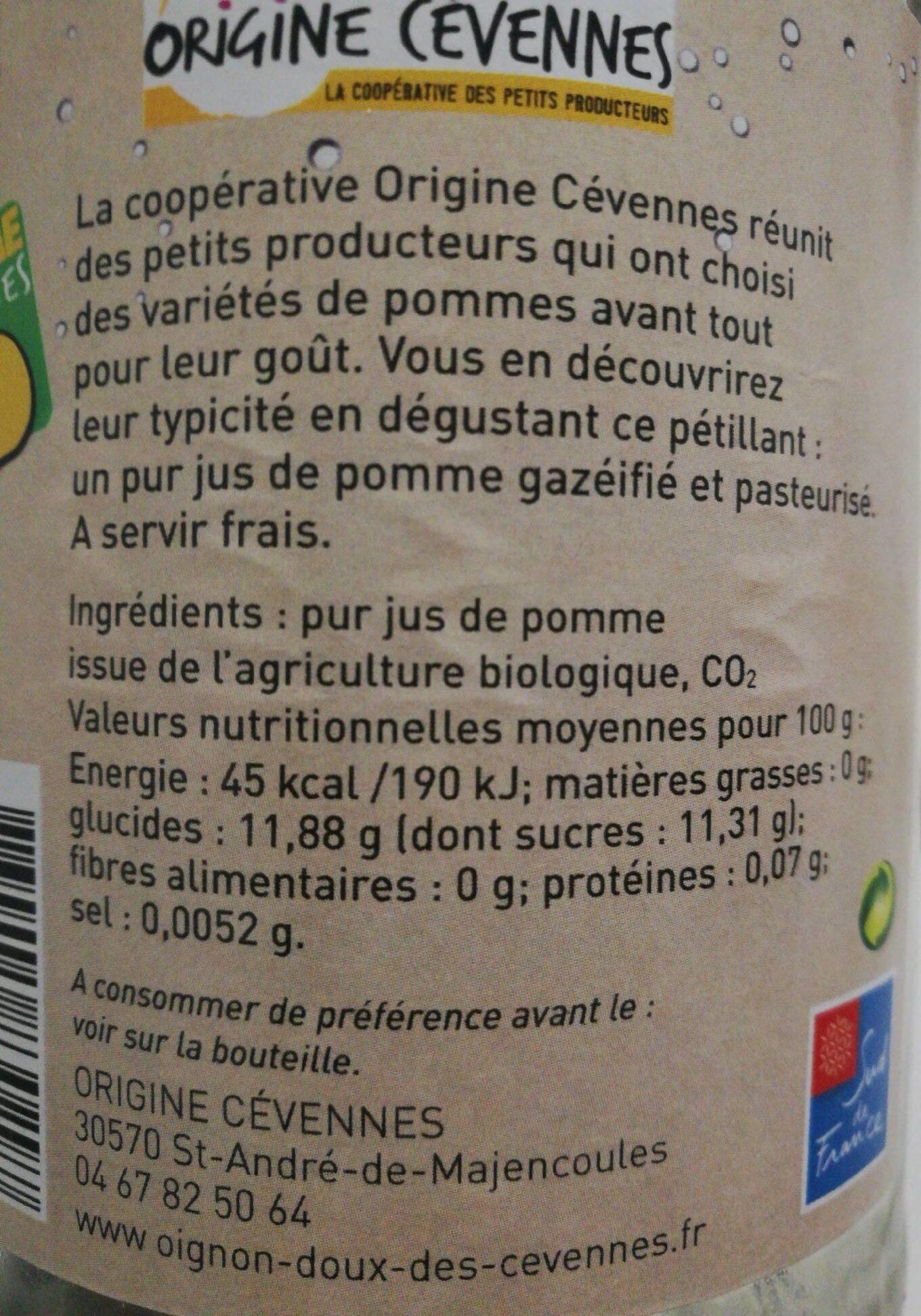 Pétillant de pomme des Cévennes - Nutrition facts