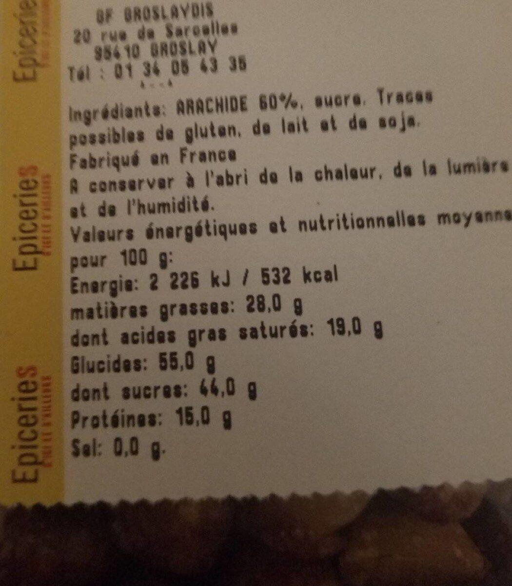 Arachide grillées enrobées de sucre cuit - Nutrition facts - fr