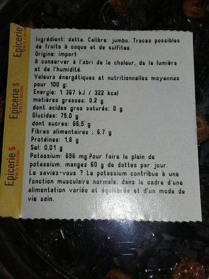 Dattes Medjoul - Voedingswaarden - fr