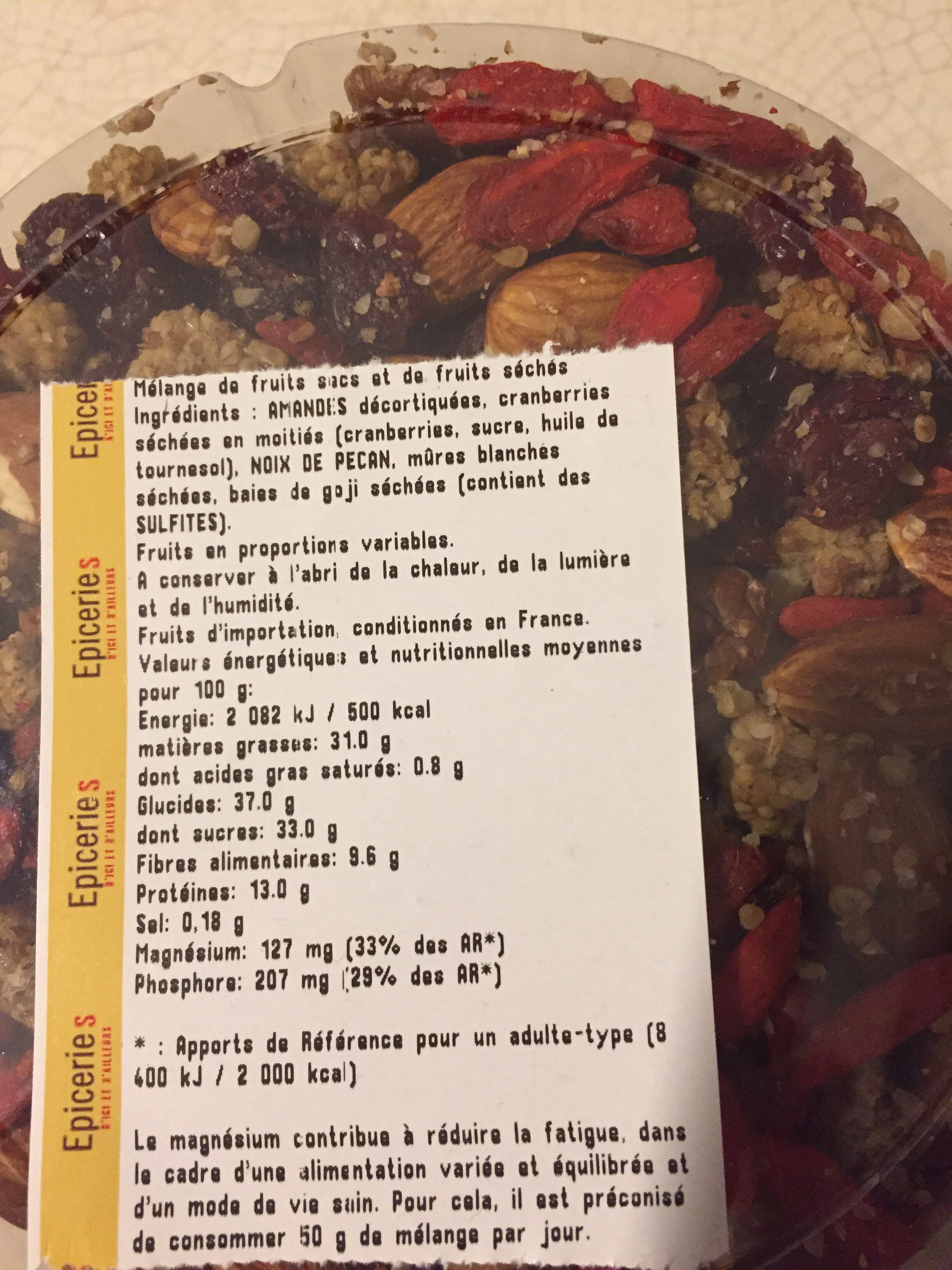 Mélange bien être - Informations nutritionnelles