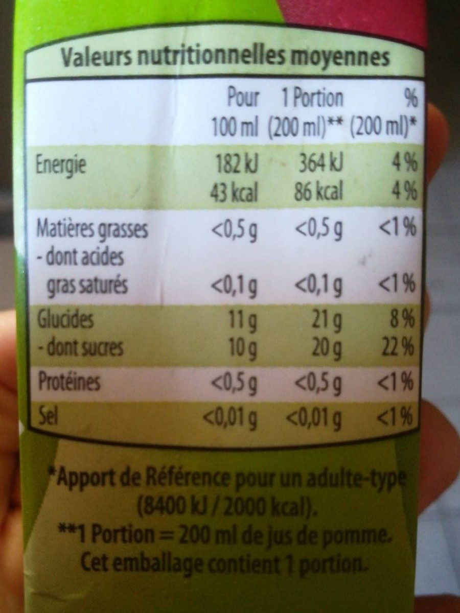 Jus de pomme à base de concentré - Nutrition facts - fr