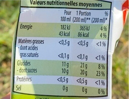 Jus de Pomme à base de concentré - Voedingswaarden - nl