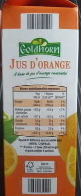 Jus d'orange - Ingrédients