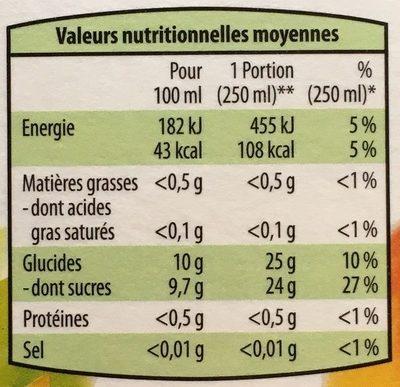 Jus de pomme à base de jus de pomme concentré - Informations nutritionnelles - fr