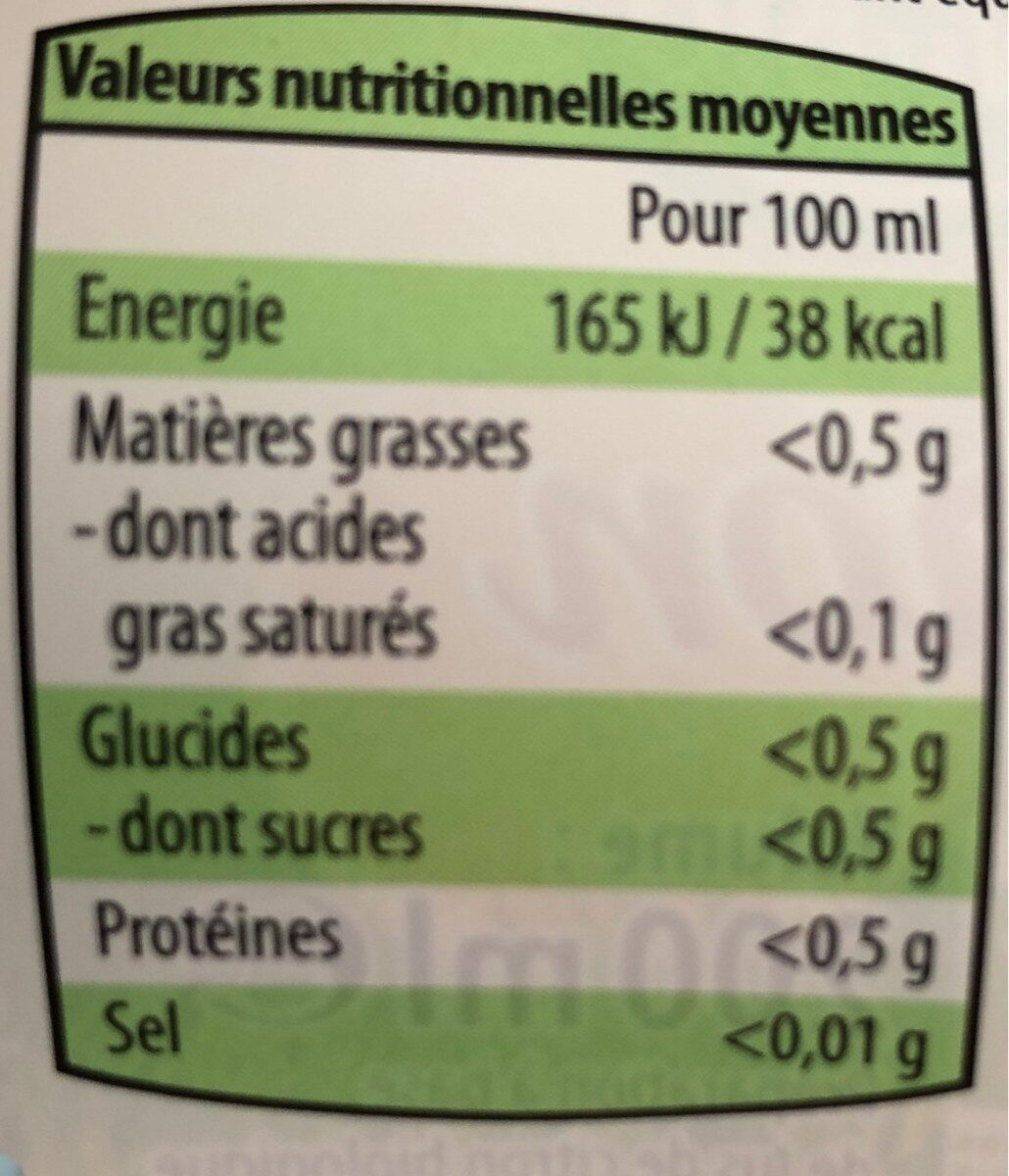 Jus de citron biologique - Nutrition facts