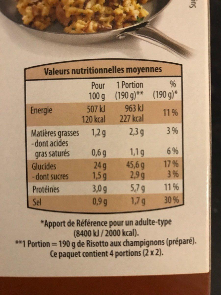 Risotto aux légumes - Nutrition facts - fr