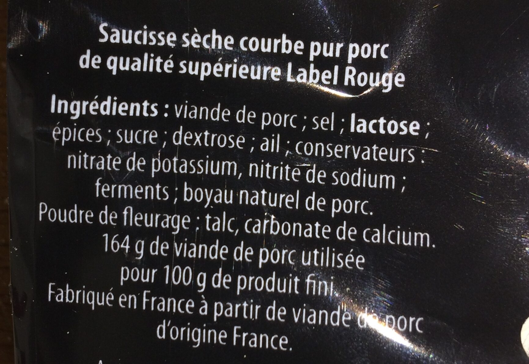 Saucisson sec - Ingrédients
