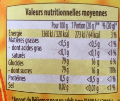 Miel liquide - Voedingswaarden - fr
