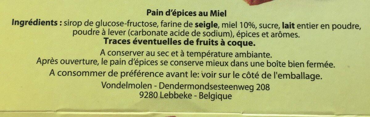 Pain d'épice au miel - Ingredients