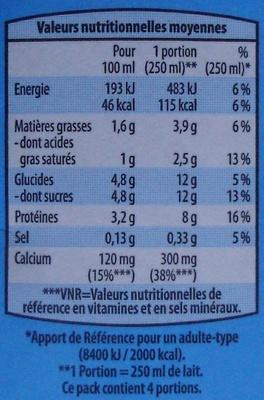 Lait Demi écrémé Stérilisé UHT - Informations nutritionnelles