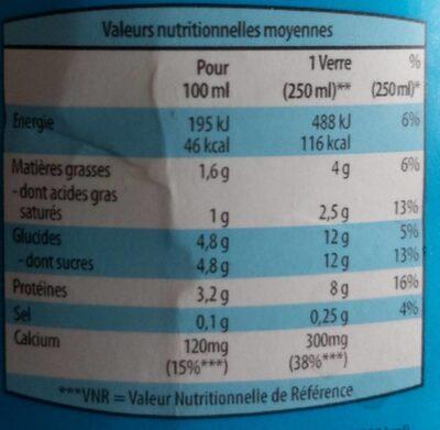 Lait demi écrémé - Informazioni nutrizionali - fr