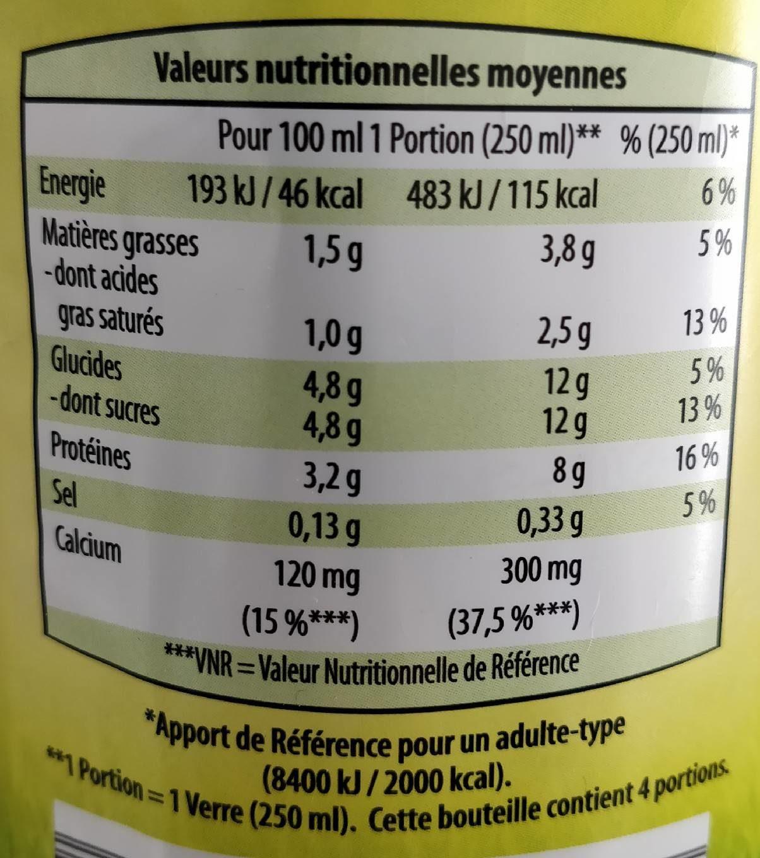 Lait Demi-écrémé - Nutrition facts