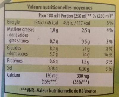 Boisson à  l'avoine - Informations nutritionnelles