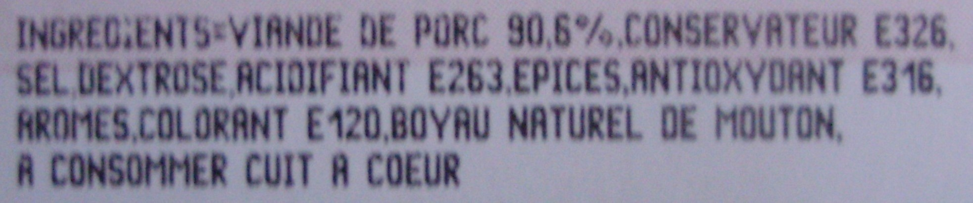 6 Chipolatas Pur Porc - Ingrédients - fr