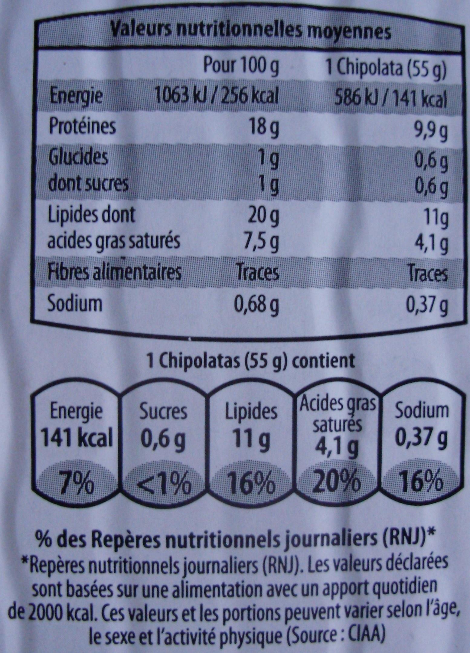 6 Chipolatas Pur Porc - Informations nutritionnelles - fr