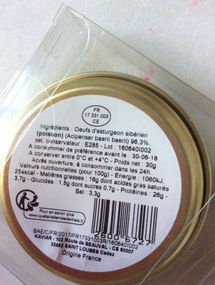 Caviar - Ingrédients - fr