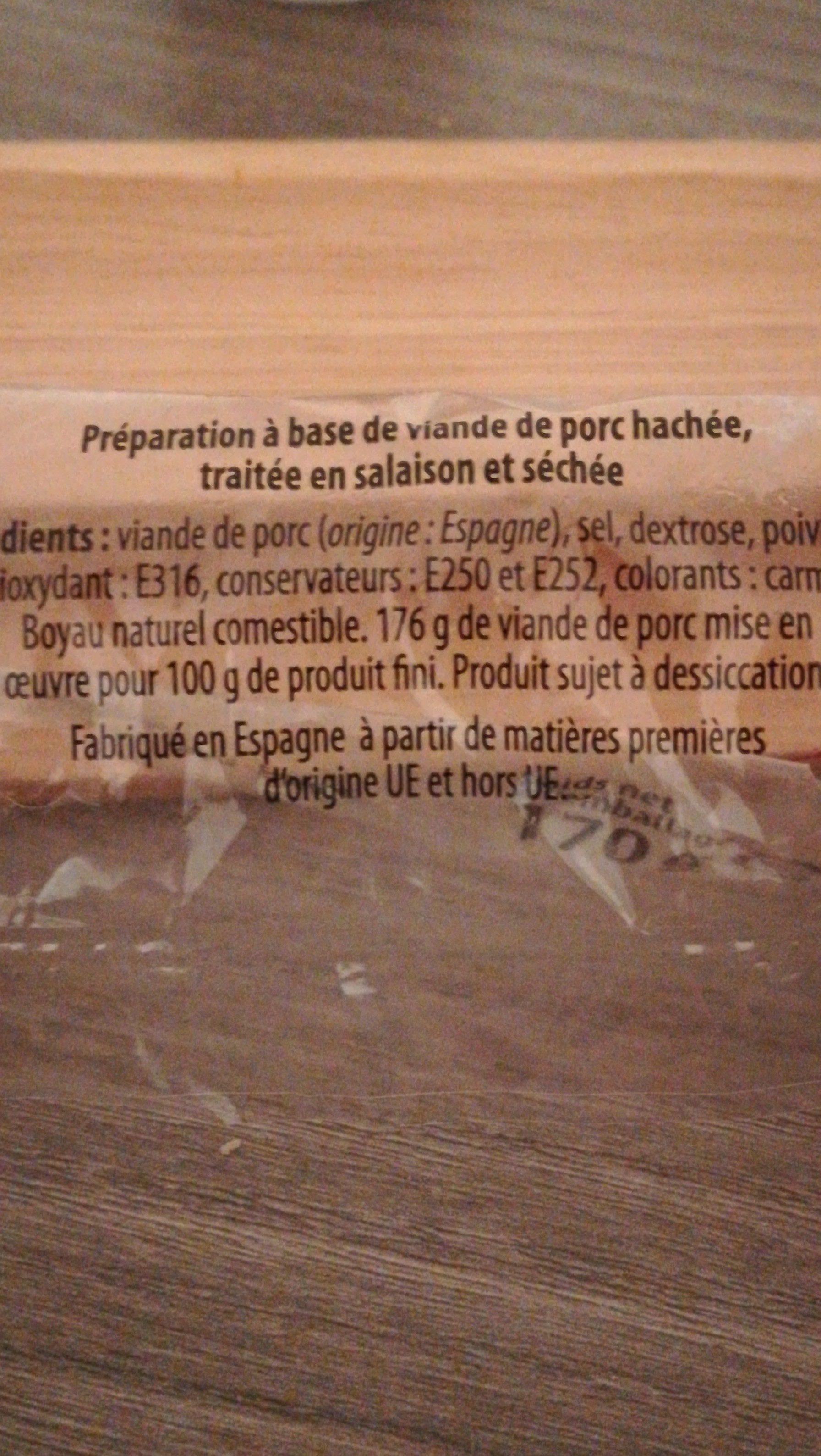 Saucisson - Ingrédients - fr
