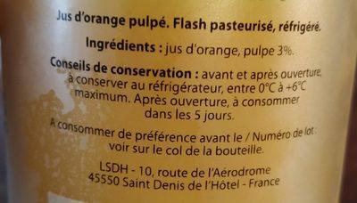 100% pur jus d'Orange avec pulpe - Ingrediënten - fr