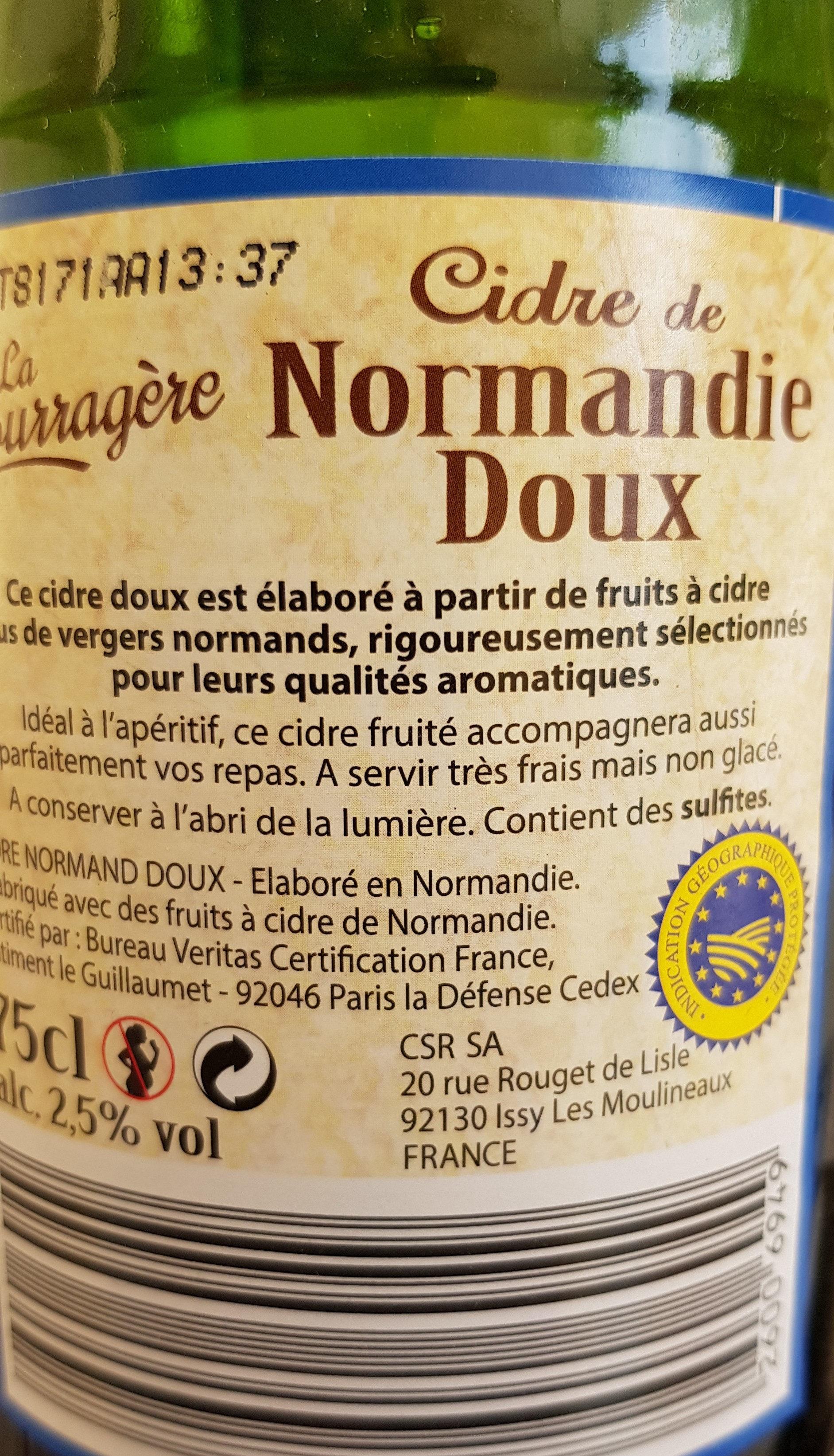 Cidre de Normandie, Doux (alc. 2,5 % vol) - Ingredients - fr