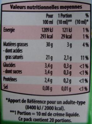 Creme liquide 30% - Nutrition facts - fr