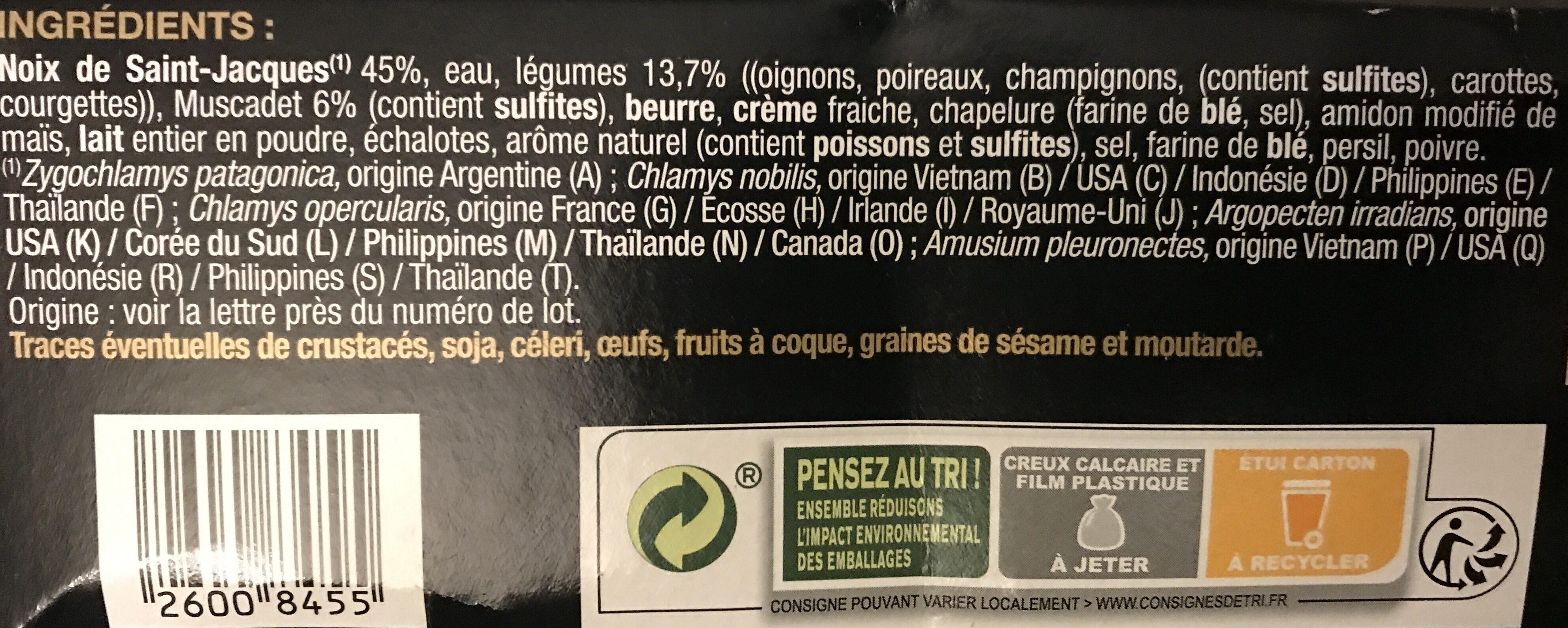 Coquilles Saint Jacques - Ingredients