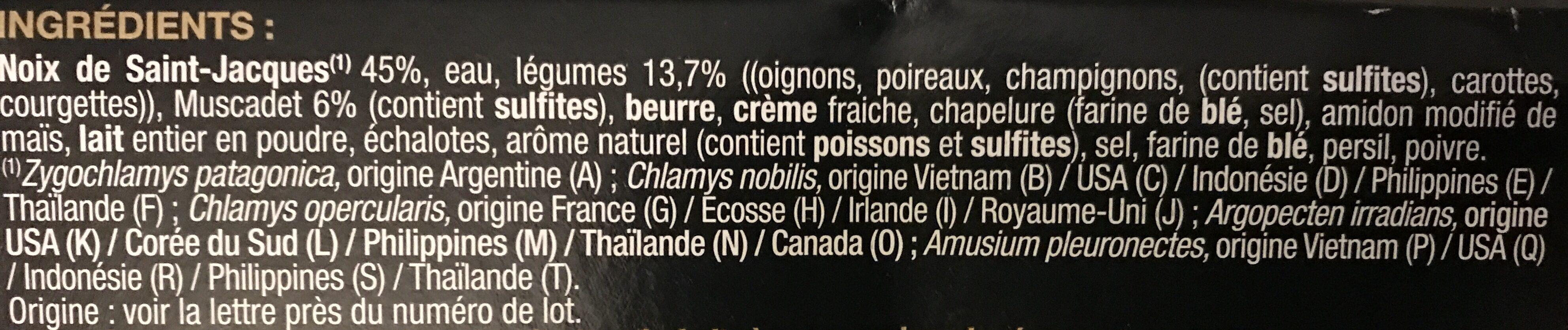 Coquilles Saint Jacques - Ingrédients