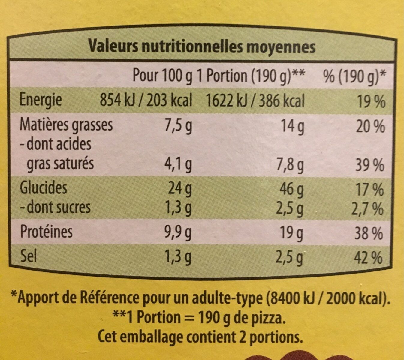 Pizza 3 fromages - Nutrition facts - fr