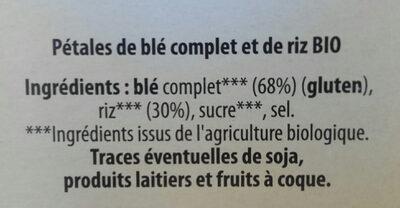 Pétales de blé complet et de riz - Ingredients