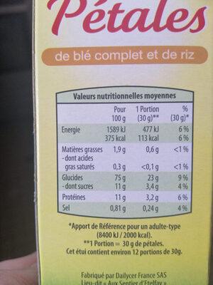 Pétales de blé complet et de riz - Nutrition facts