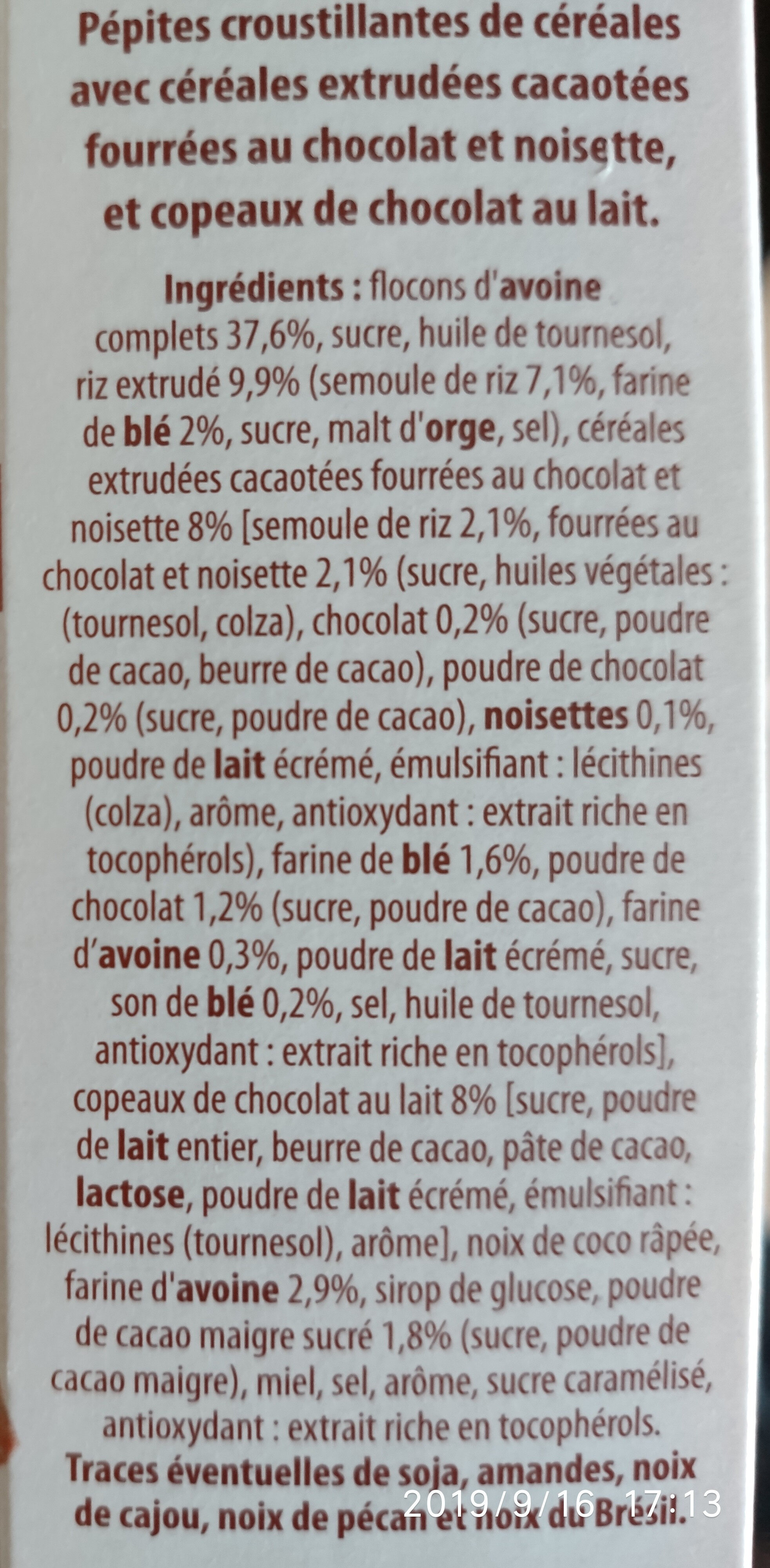 Crunchy mix muesli chocolat - Ingredienti - fr