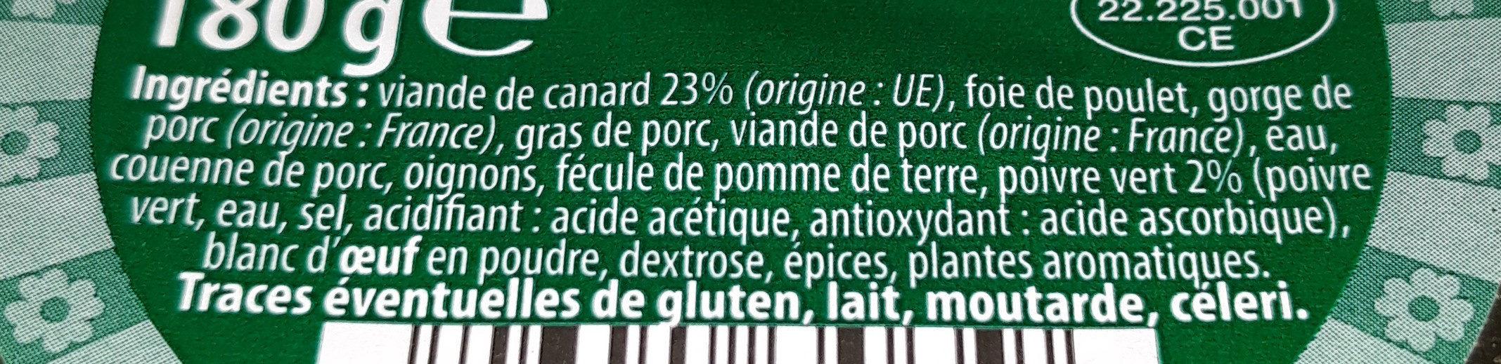 Terrine de cerf au cognac - Ingrédients - fr