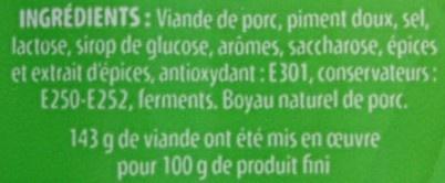 Chorizo supérieur doux - Ingrédients - fr