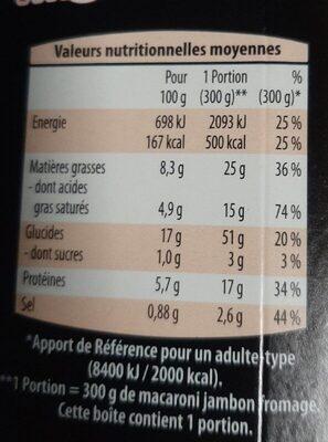 Macaroni au Jambon fromage - Informations nutritionnelles - fr