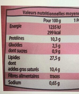 Mousse de foie supérieure à l'ancienne - Nutrition facts - fr