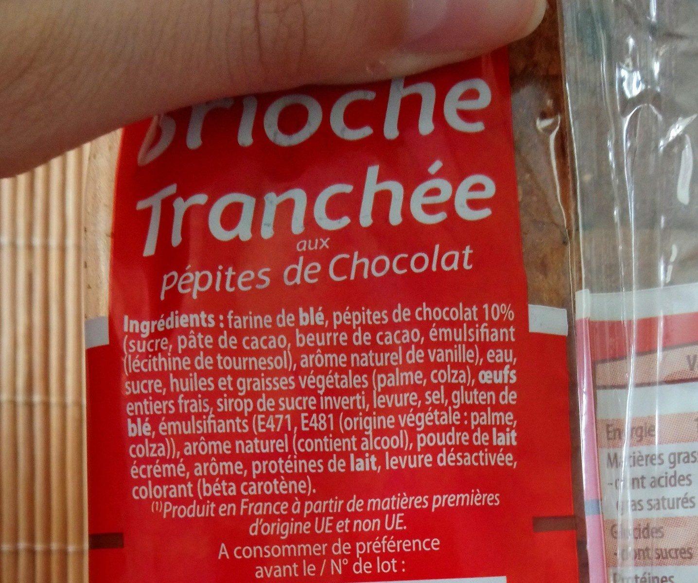 Brioche tranchée aux pepites de chocolat - Ingrédients - fr