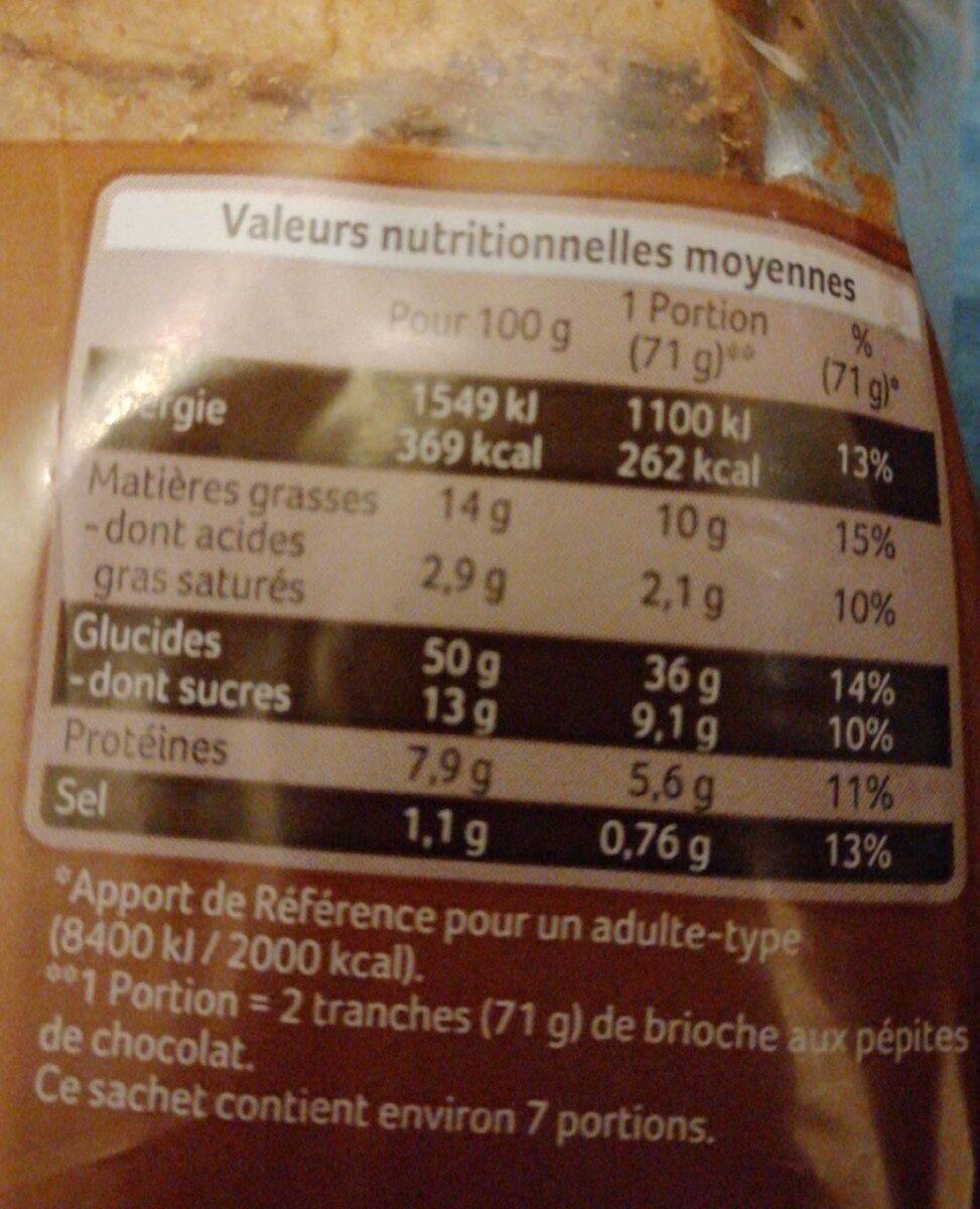 Brioche tranchée aux pepites de chocolat - Informations nutritionnelles - fr
