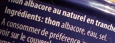 Thon albacore au naturel - Ingrédients - fr