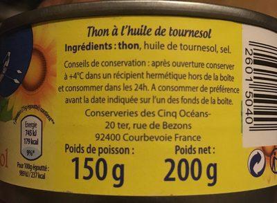 Thon à L'huile De Tournesol - Ingrédients