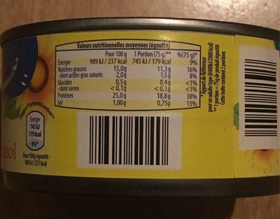 Thon à L'huile De Tournesol - Informations nutritionnelles